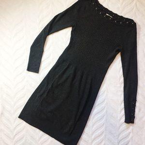 Cache Sweater Dress Dark Grey Small
